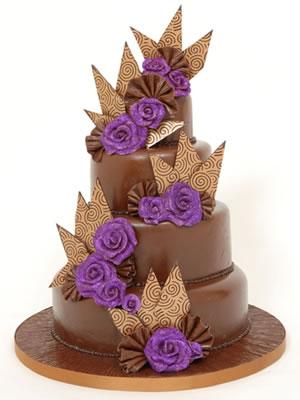 Cokoladne svadbene torte ukrasene cvijecem-2