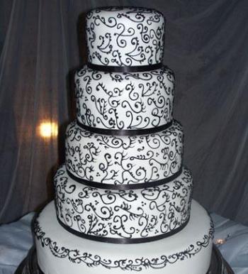 Crno bijele svadbene torte-1