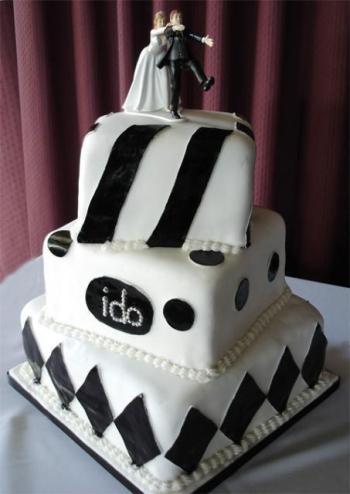 Crno bijele svadbene torte-2
