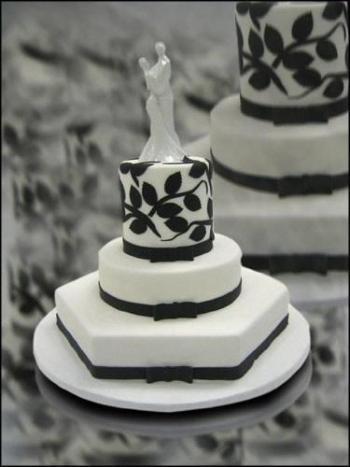 Crno bijele svadbene torte-4