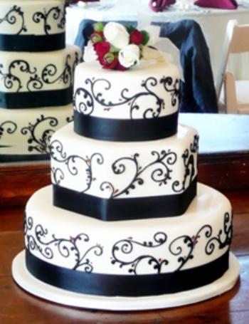 Crno bijele svadbene torte-5